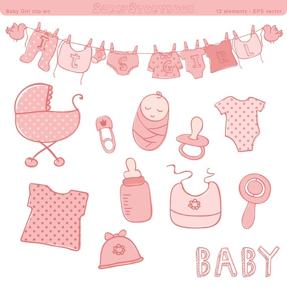 Baby Shower Clip Art   Girl   EPS Vector File, Pastel Pink, Polka Dot