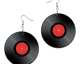 Vinyl record - handmade earrings - decoupage,  vintage retro earrings,  black and red vinyl record earrings, unique jewellery, retro style
