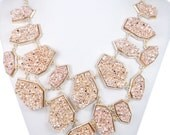 10% OFF Champagne Irregular Druzy Stone Layers Statement Necklace, Beadwork Necklace, Bubble Bib Necklace, Bridesmaid Jewelry-153420044