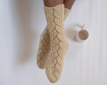 HUGE SALE Custom Color, Knit Organic Socks, 100% Wool Socks, Handknit Socks, Lace Socks, Mens, Womens, Latvian wool, High Boot Socks.