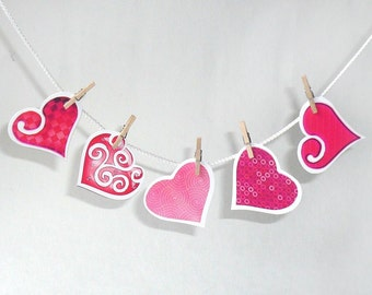 Red pink valentine hearts, DIY printable collage sheet, embellishment, deco, scrapbooking, gift packaging, tags, pdf, digital file, name tag
