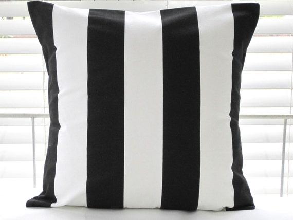 Black And White Stripe Outdoor Throw Pillows : Pillow Cover Outdoor Pillows Black and White by PillowsByJanet