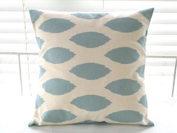 "Pillow, Blue Pillow Cover, 18"" x 18"" Pillow, Decorative Throw Pillow, Village Blue and Natural"