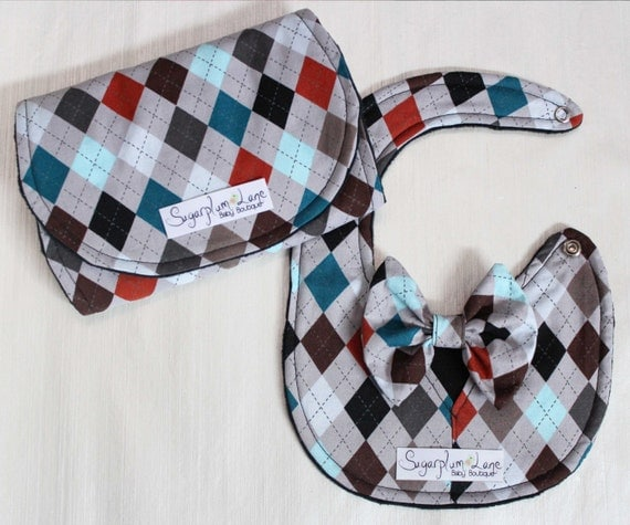 Baby Boy Burp Cloth and Bib Bow Tie Set Black, Grey, Navy, and Orange Argyle Print with Black Minky Dot Back