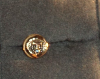 10K Yellow Gold Tie Tac/Pin with Small Blue Sapphire Stone