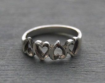 Vintage Sterling Silver Heart Ring- Cutout Heart Ring - Valentines Day Gift Wife Girlfriend