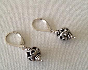 Silver Bali Bead Earring