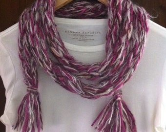 Hand made purple ,gray,white    mix colors   scarf