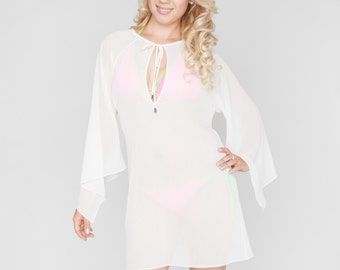 Beach  Tunic. White Cover Up.