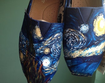 "Hand Painted ""Starry Night"" Toms Shoes"