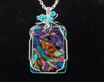 Wire Wrapped Dichroic Glass Pendant Handmade SCS-089