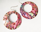large vintage pink hoop dangle earrings oversize 90s abstract SALE - LaceFancy