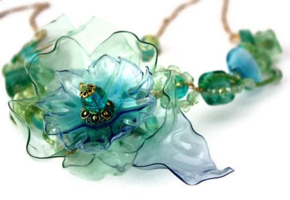 Sea Glass Necklace Green Aqua Blue Sea Beach Bridal