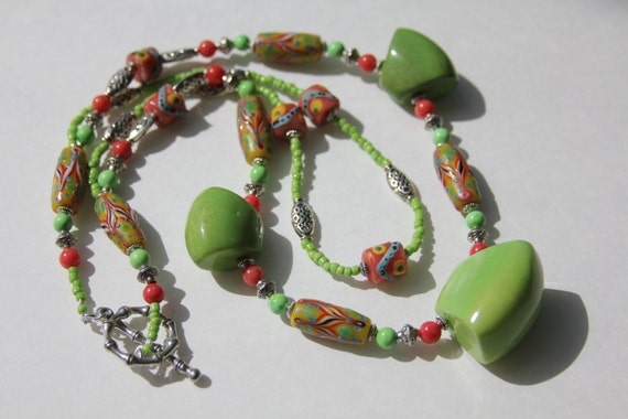Handmade Lime Green, Red and Yellow Krobo Bead and Tagua Nut Necklace ...