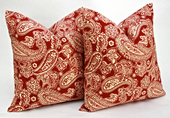 Items similar to Brick Red and Tan Paisley Pillow Covers 20 x 20 inches Decorative Throw Pillows ...