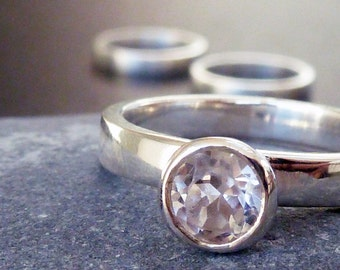 White topaz engagement ring, sterling silver ring