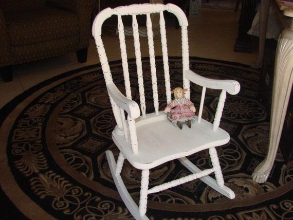 Shabby Chic Childs Rocking Chair by MerishcasVintage on Etsy