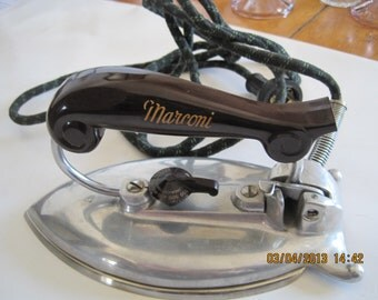 Vintage 1940s 50s Marconi Featherline Electric Flat Iron Smooth Plate Model  103