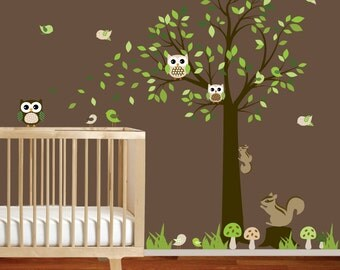 Nursery Vinyl Wall Decal Sticker Forest woodland animal with squirrels,owls and birds