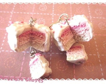 Pink Ombre Cake Earrings, Miniature Food Earrings