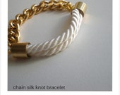 handmade silk knot bracelet with gold filled chain