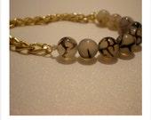 Round loose beads gem bracelet, black dragon agate onyx