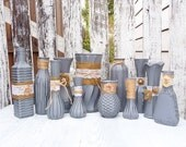 Burlap and Lace, Grey RUSTIC, SHABBY CHIC Vase set of 12 Made To Order