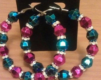 Basketball wives and love and hip hop inspired 70mm hoop with pink and blue beads