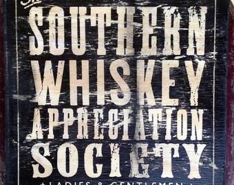 "Whiskey Appreciation Society 12"" x 12"" wood sign"
