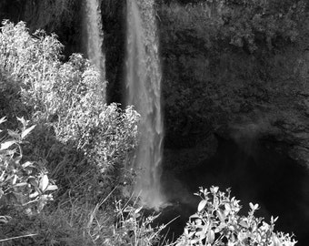 Waterfall Photograph in Black and White