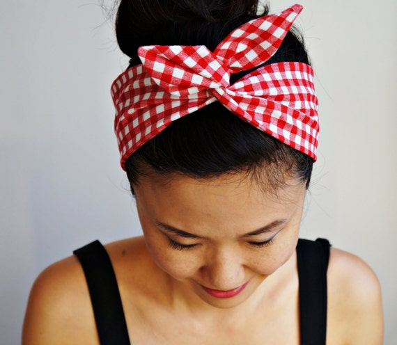 Gift Wrapped Picnic Checkered Dolly Bow Gingham Headband/Inner Wired Headwrap/Turband