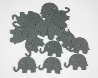 50 Dark Grey Elephant Confetti, Die Cut Elephants, Birthday, Party Decorations, Baby Shower, Confetti, Scrapbook, Grey Elephant