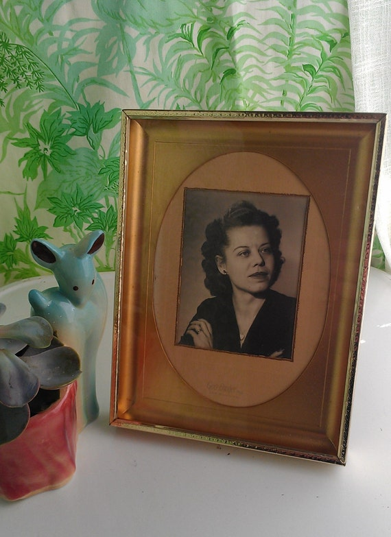 Vintage 1940's Portrait Photograph Of Woman With Mid Centruy Frame