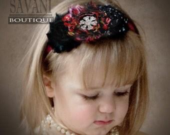 Red black Baby headband, vintage headband, shabby chic roses headband, headband