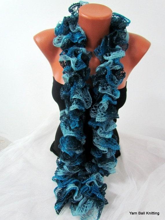 Curly Scarf Women Ruffled Scarf Crochet Culy By Chiaraboutiqe