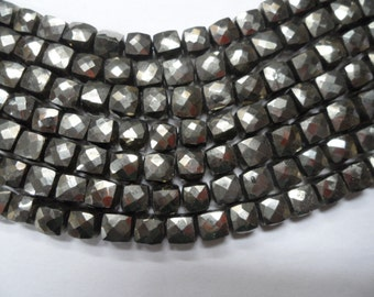"Pyrite top quality faceted box briolette 6 side cutting 1 full strand 8"" size 7mm approx"