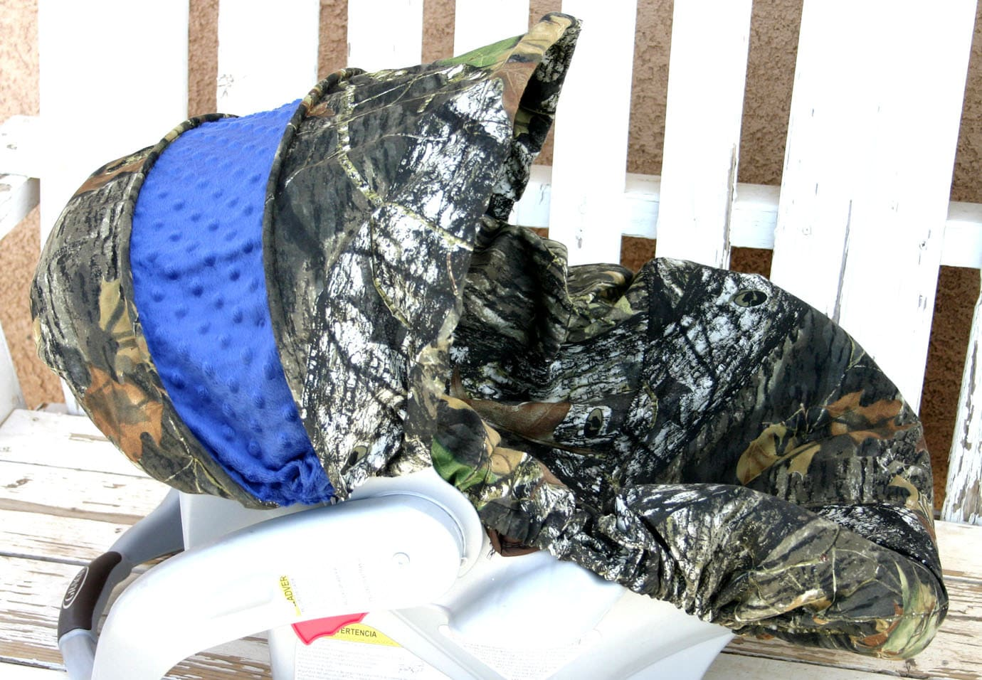 Mossy Oak Camo With Blue Minky Car Seat Cover And Hood Cover