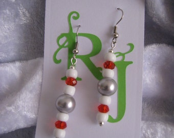 Grey, Red, and White Sock Monkey Earrings