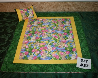 "Bunny print, American Girl sized, reversible doll bed quilt 17.5"" x 20.5"" with matching pillow 4"" x 6"""