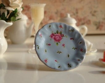 New Country Roses Pale Blue  Plate for Dollhouse
