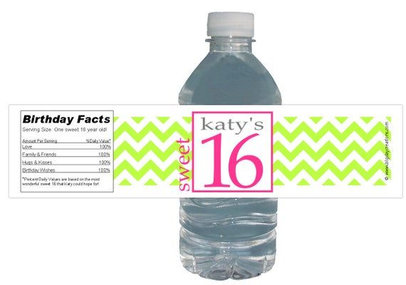 Neon Water Bottles 15ct Water Bottle Labels