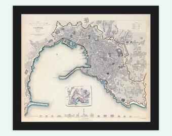Old Map of Genova Genes Genoa , City Plan Italia 1836 Antique Vintage Italy