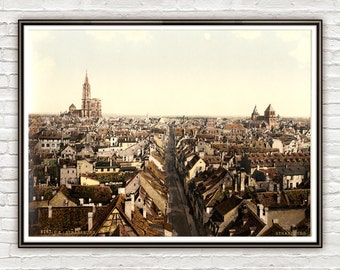 Vintage Photo of Panoramic Strasbourg, Alsace 1895