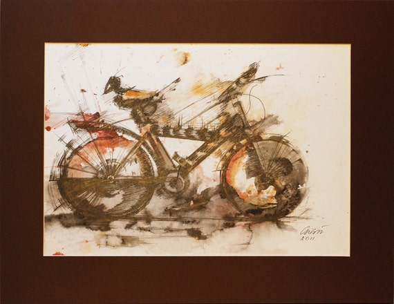 ORIGINAL Watercolor Modern Ink Drawing Not a print Graphic Wall Art Birds Bicycle Red