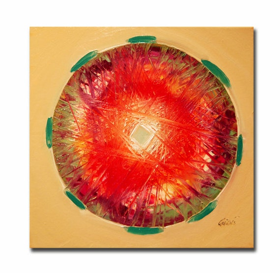 ORIGINAL mandala painting, spiritual art, meditation art, mandala art, red orange