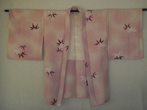 RESERVED FOR NINI - Pink Silk Kimono / Antique Japanese Short Jacket  Haori -Hand-Painted Bamboo Flowers on Ombre Pink Silk - Hand Sewn