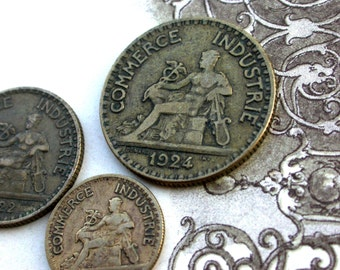 5PCS French old coins vintage coins 1922s to 1939s collectible art deco period coins vintage charm