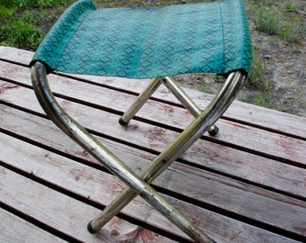 folding camp stool green and black geometric pattern metal scissor legs camping gear fishing seat