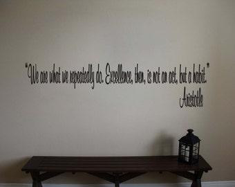 "Aristotle Inspirational Teacher Classroom Quote Vinyl Wall Sticker Decal 5""h x 22""w"