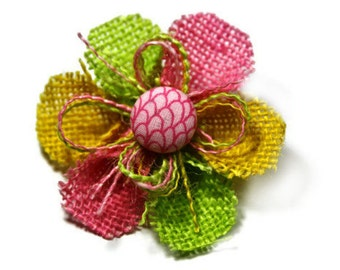 Pink, Yellow and Lime Green Small Burlap Flower Accessory - Pink Scales Center
